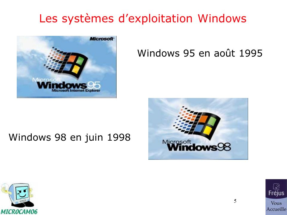 5 Les systèmes dexploitation Windows Windows 95 en août 1995 Windows 98 en juin 1998