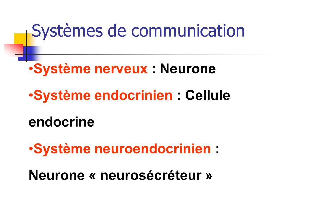 Systèmes de communication Système nerveux : Neurone Système endocrinien : Cellule endocrine Système neuroendocrinien : Neurone « neurosécréteur »