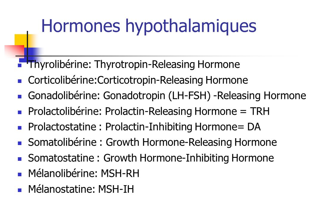 Hormones hypothalamiques Thyrolibérine: Thyrotropin-Releasing Hormone Corticolibérine:Corticotropin-Releasing Hormone Gonadolibérine: Gonadotropin (LH