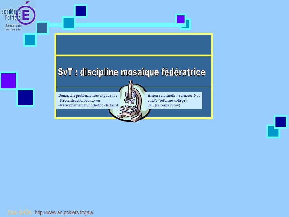 Site GAÏA: http://www.ac-poitiers.fr/gaia Continuité entre lécole et le collège et lUniversité Cohérence verticale des programmes