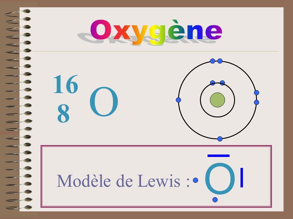 O 8 16 Modèle de Lewis : O