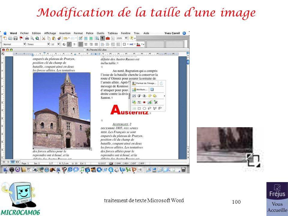 traitement de texte Microsoft Word 100 Modification de la taille dune image