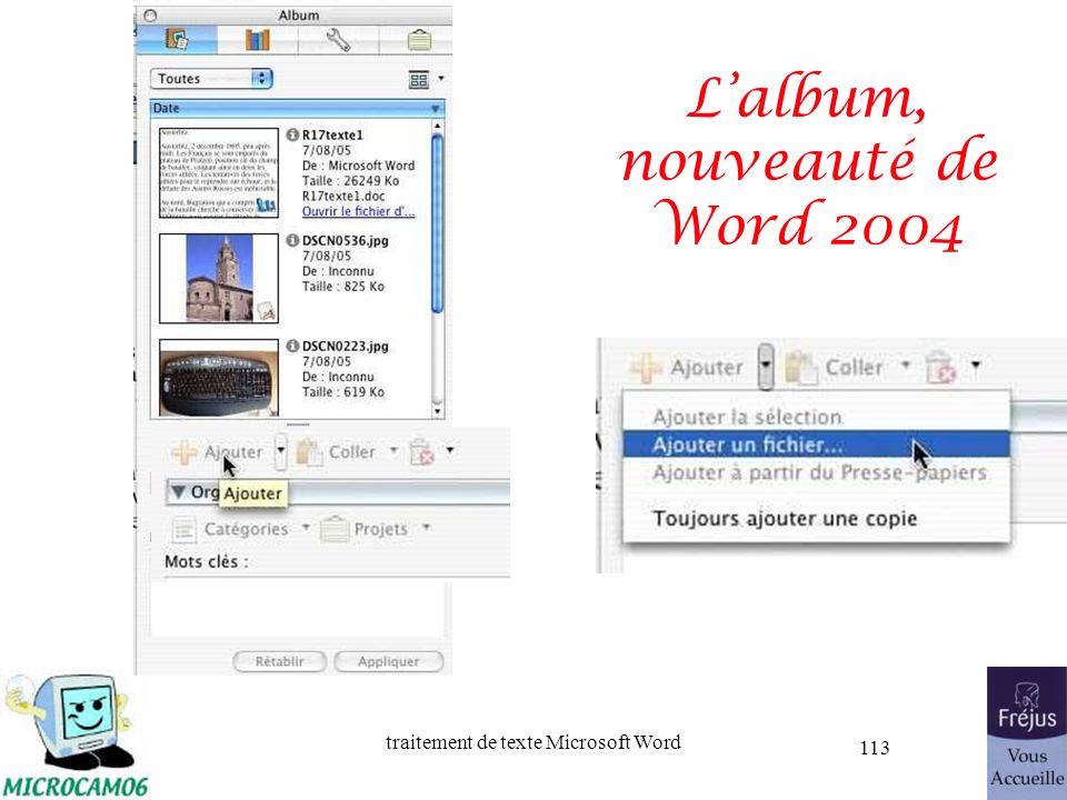 traitement de texte Microsoft Word 113 Lalbum, nouveauté de Word 2004