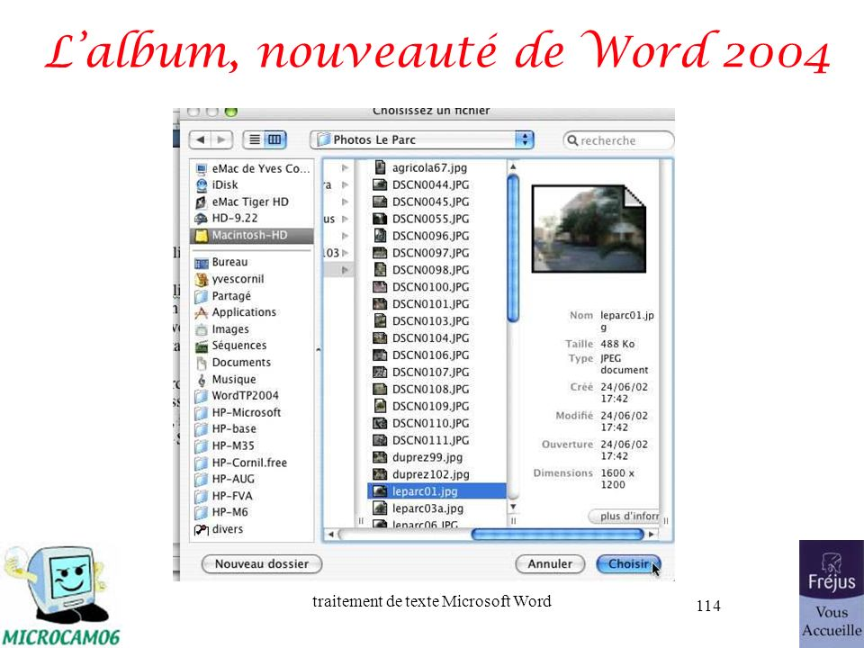 traitement de texte Microsoft Word 114 Lalbum, nouveauté de Word 2004