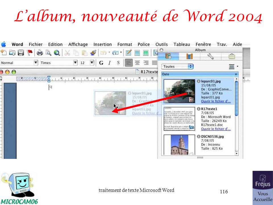 traitement de texte Microsoft Word 116 Lalbum, nouveauté de Word 2004
