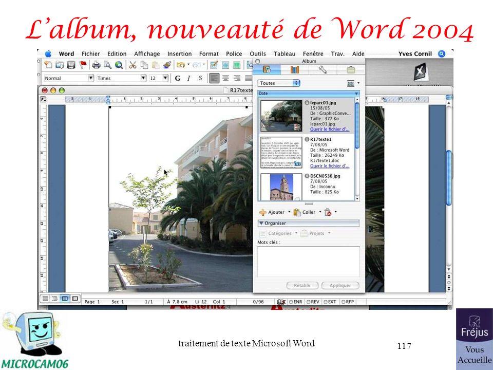 traitement de texte Microsoft Word 117 Lalbum, nouveauté de Word 2004