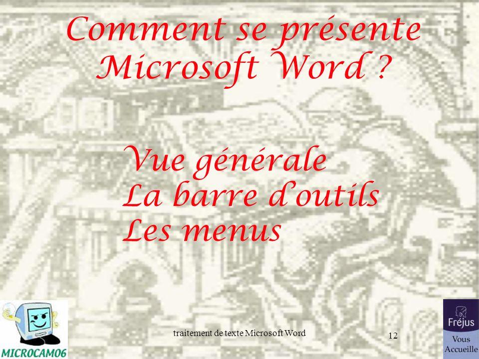 traitement de texte Microsoft Word 12 Comment se présente Microsoft Word ? Vue générale La barre doutils Les menus