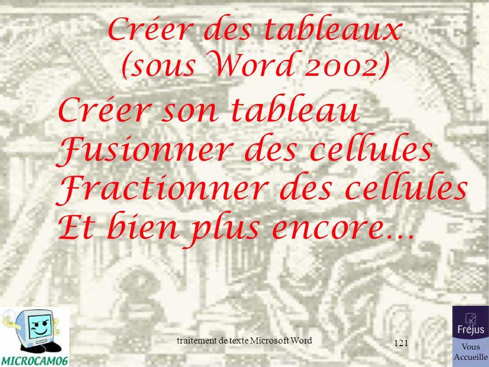 traitement de texte Microsoft Word 121 Créer des tableaux (sous Word 2002) Créer son tableau Fusionner des cellules Fractionner des cellules Et bien p