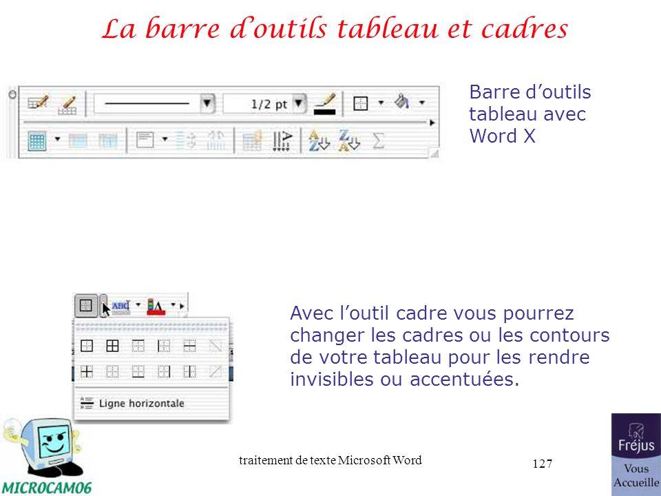 traitement de texte Microsoft Word 127 La barre doutils tableau et cadres Barre doutils tableau avec Word X Avec loutil cadre vous pourrez changer les