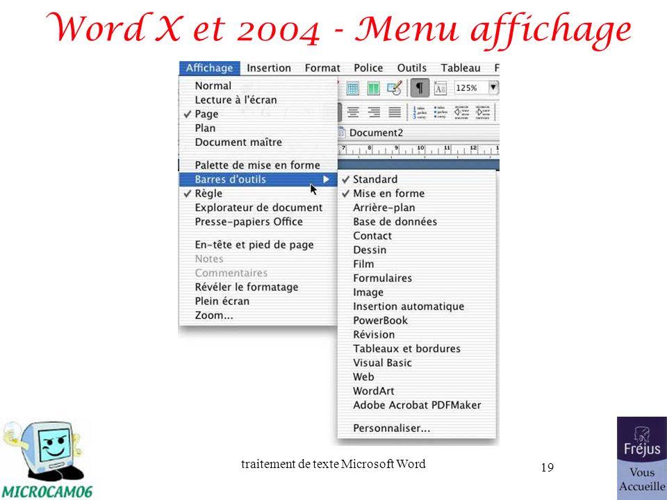 traitement de texte Microsoft Word 19 Word X et 2004 - Menu affichage