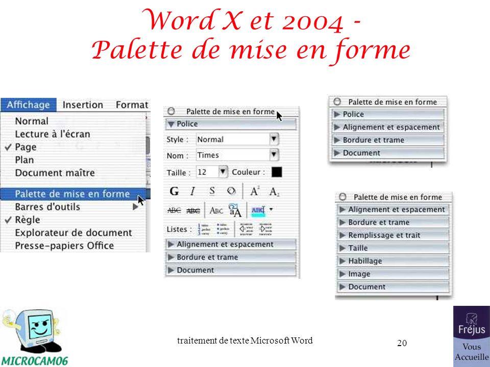 traitement de texte Microsoft Word 20 Word X et 2004 - Palette de mise en forme
