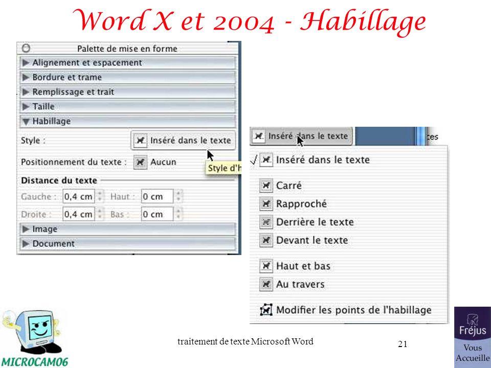 traitement de texte Microsoft Word 21 Word X et 2004 - Habillage