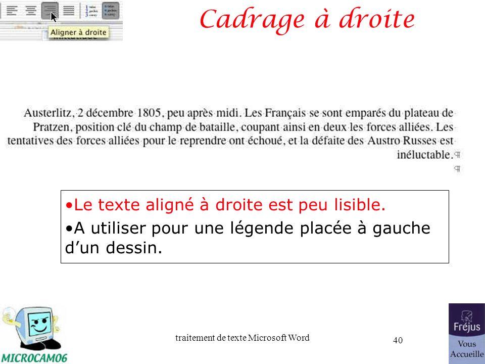 traitement de texte Microsoft Word 40 Cadrage à droite Le texte aligné à droite est peu lisible. A utiliser pour une légende placée à gauche dun dessi