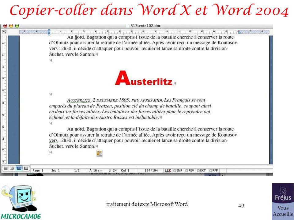 traitement de texte Microsoft Word 49 Copier-coller dans Word X et Word 2004