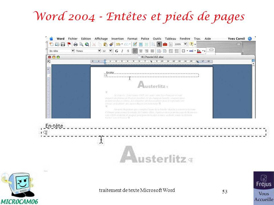 traitement de texte Microsoft Word 53 Word 2004 - Entêtes et pieds de pages