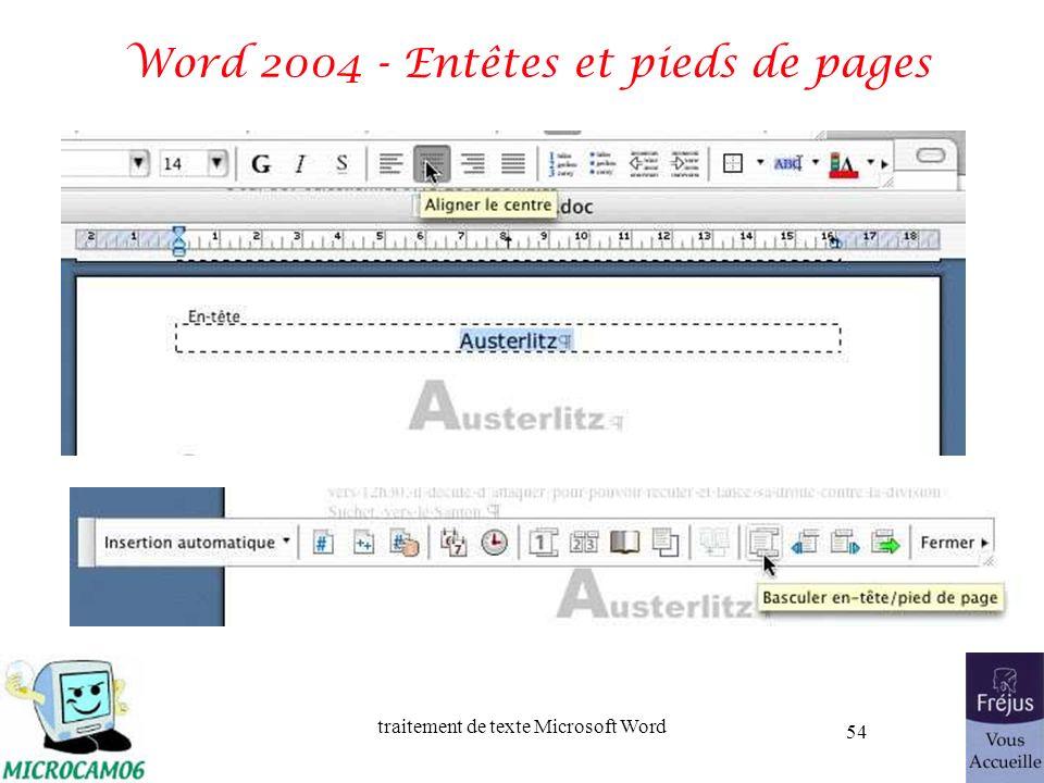 traitement de texte Microsoft Word 54 Word 2004 - Entêtes et pieds de pages