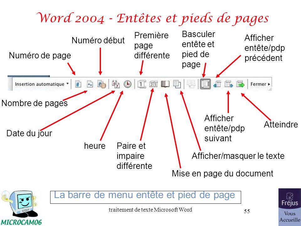 traitement de texte Microsoft Word 55 Word 2004 - Entêtes et pieds de pages Numéro de page Nombre de pages Numéro début Date du jour heure La barre de