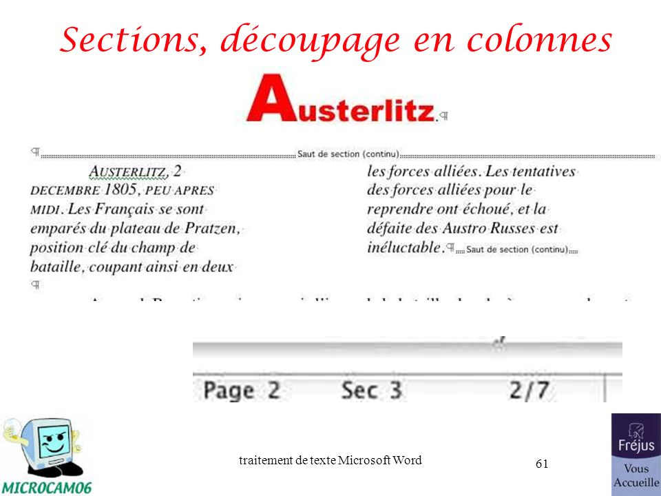 traitement de texte Microsoft Word 61 Sections, découpage en colonnes