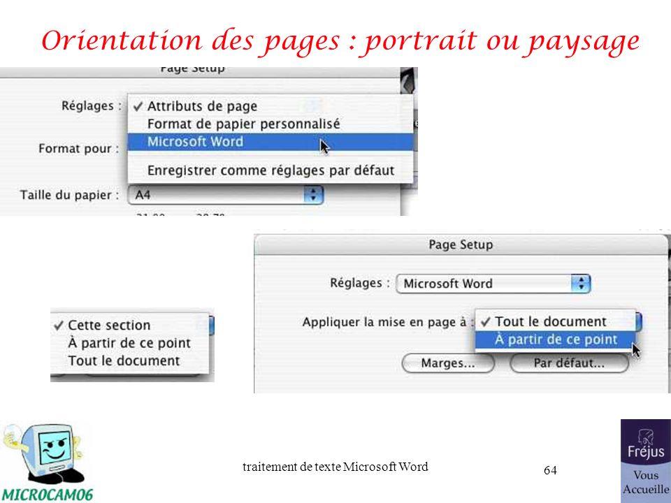 traitement de texte Microsoft Word 64 Orientation des pages : portrait ou paysage