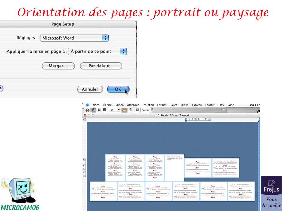 traitement de texte Microsoft Word 65 Orientation des pages : portrait ou paysage