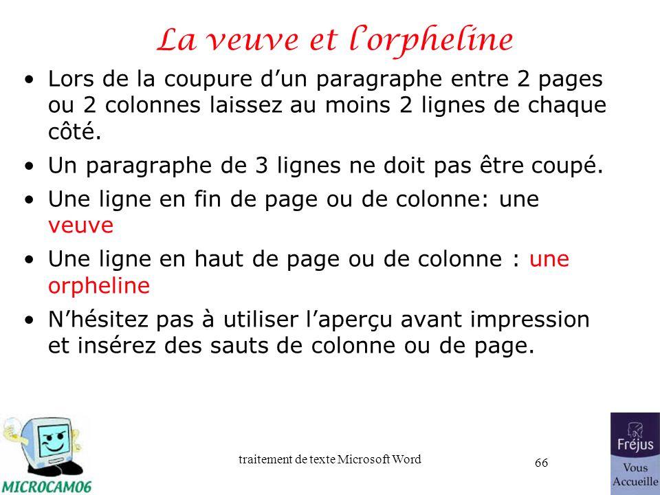 traitement de texte Microsoft Word 66 La veuve et lorpheline Lors de la coupure dun paragraphe entre 2 pages ou 2 colonnes laissez au moins 2 lignes d