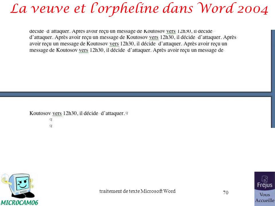 traitement de texte Microsoft Word 70 La veuve et lorpheline dans Word 2004