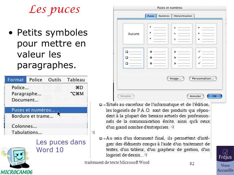 traitement de texte Microsoft Word 82 Les puces Petits symboles pour mettre en valeur les paragraphes. Les puces dans Word 10