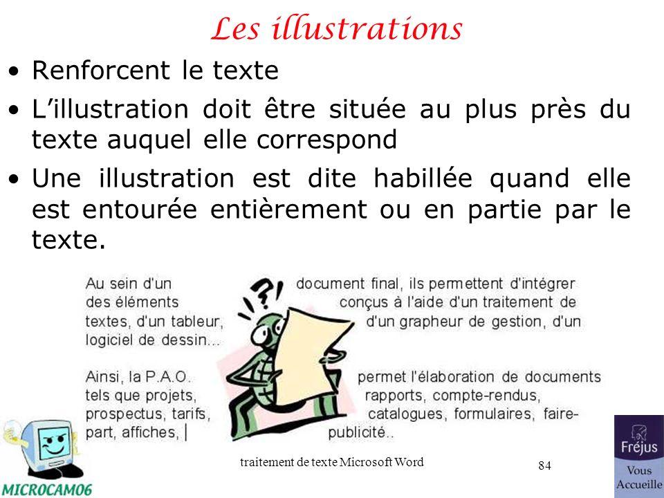 traitement de texte Microsoft Word 84 Les illustrations Renforcent le texte Lillustration doit être située au plus près du texte auquel elle correspon