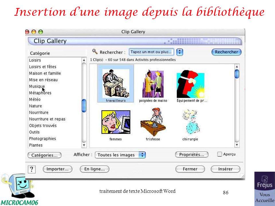 traitement de texte Microsoft Word 86 Insertion dune image depuis la bibliothèque