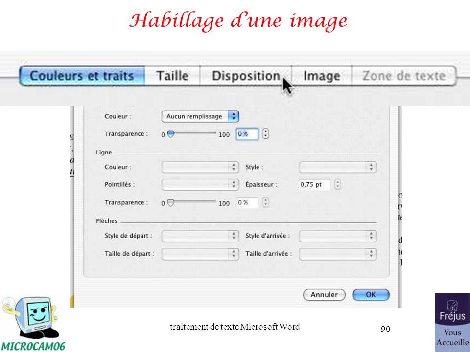 traitement de texte Microsoft Word 90 Habillage dune image