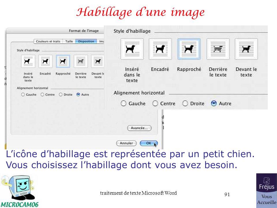traitement de texte Microsoft Word 91 Habillage dune image Licône dhabillage est représentée par un petit chien. Vous choisissez lhabillage dont vous