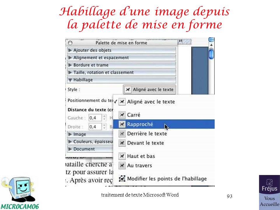 traitement de texte Microsoft Word 93 Habillage dune image depuis la palette de mise en forme