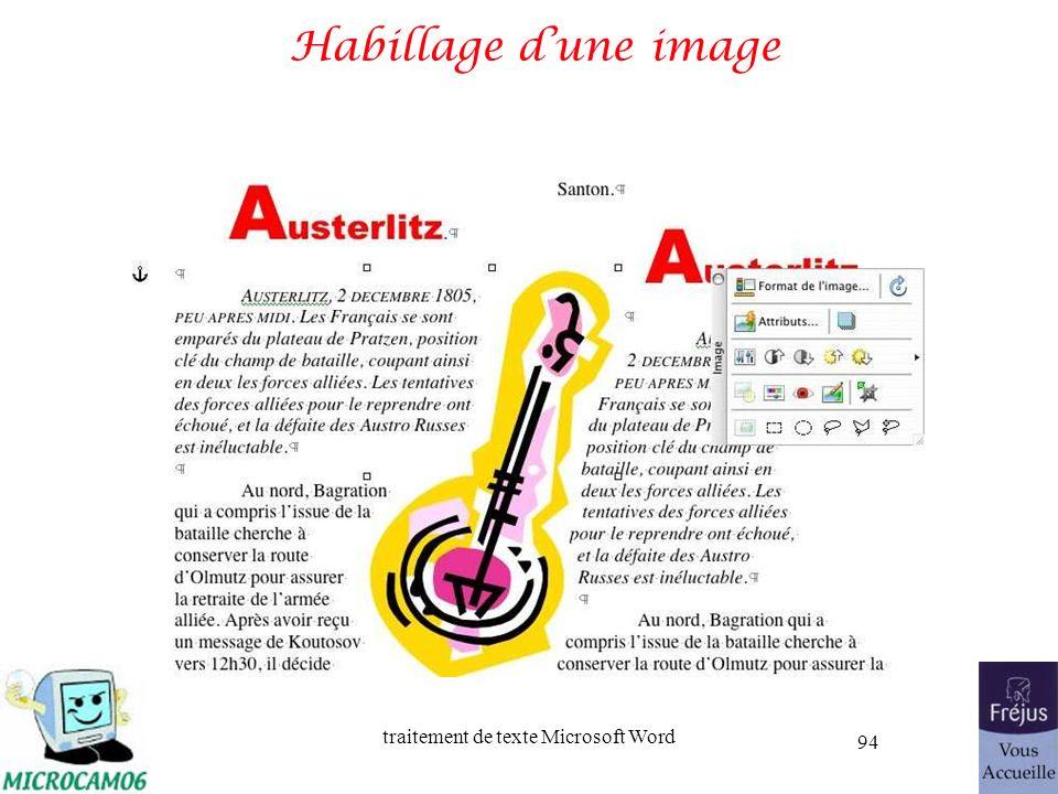 traitement de texte Microsoft Word 94 Habillage dune image