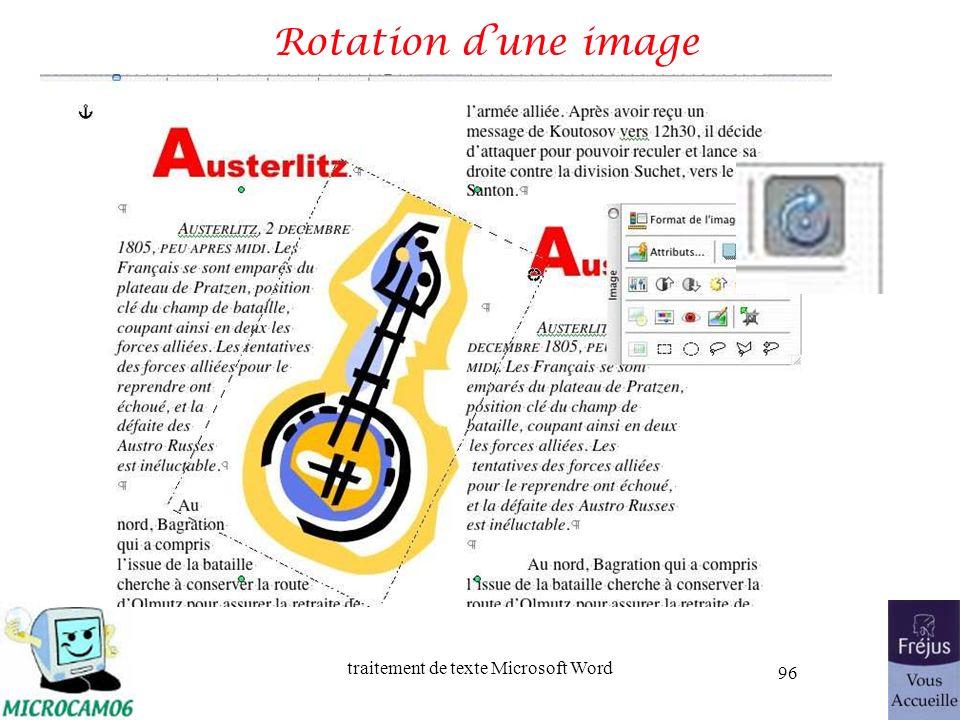 traitement de texte Microsoft Word 96 Rotation dune image