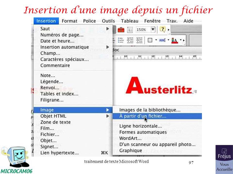 traitement de texte Microsoft Word 97 Insertion dune image depuis un fichier