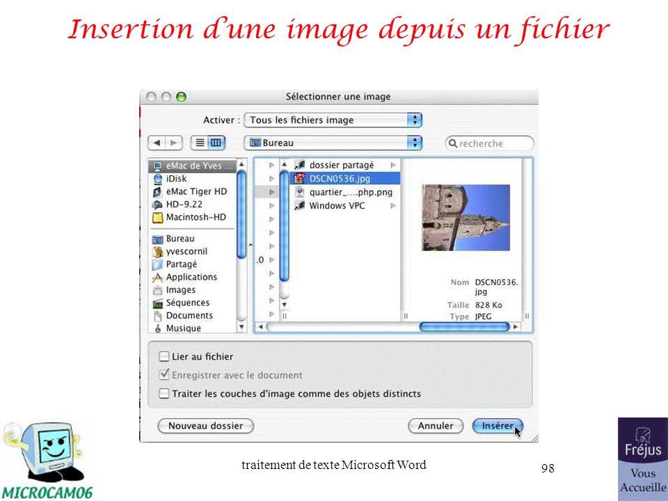 traitement de texte Microsoft Word 98 Insertion dune image depuis un fichier