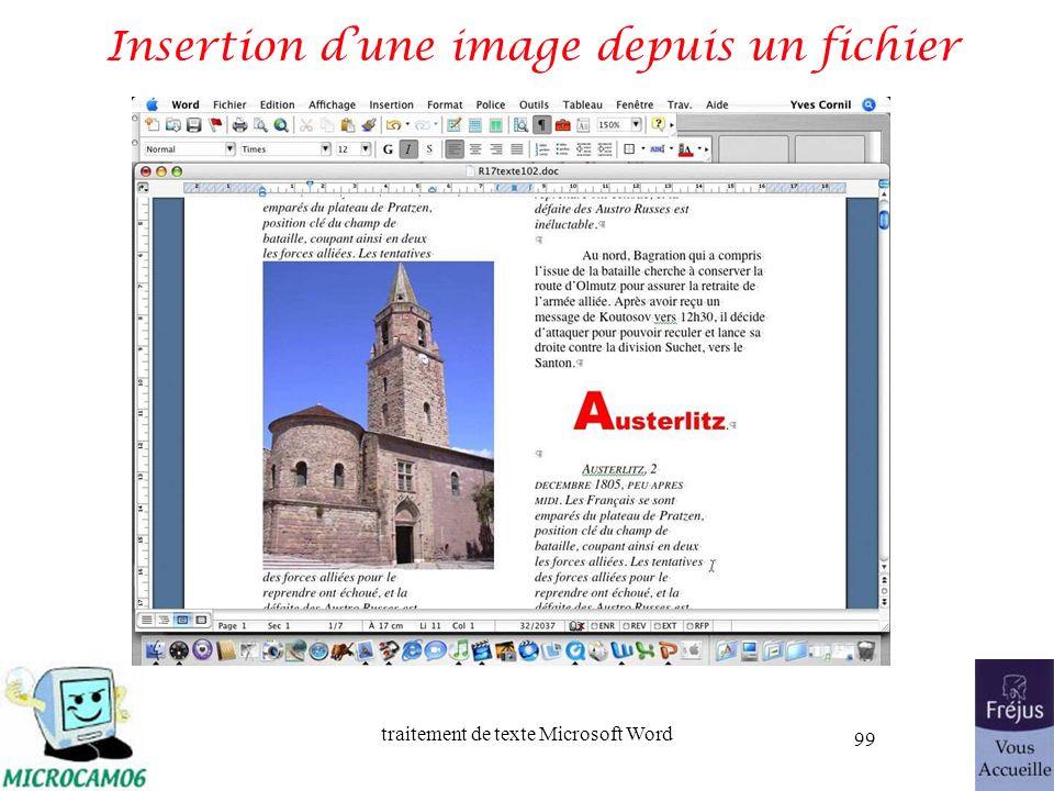 traitement de texte Microsoft Word 99 Insertion dune image depuis un fichier