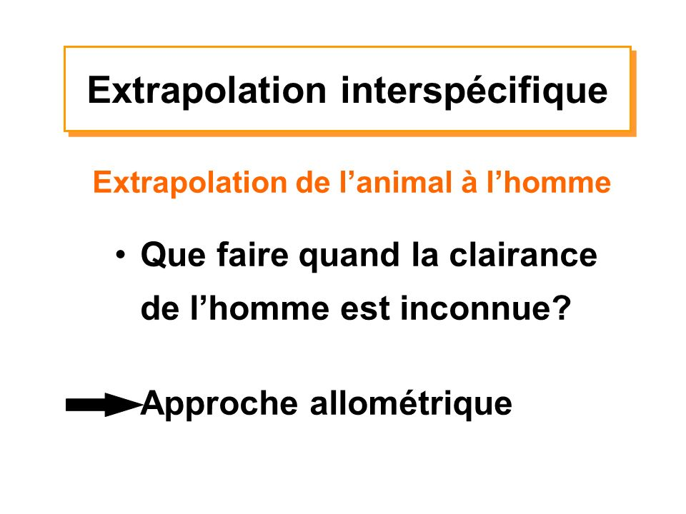 Que faire quand la clairance de lhomme est inconnue? Approche allométrique Extrapolation de lanimal à lhomme Extrapolation interspécifique