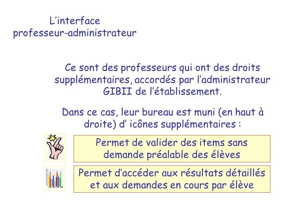 Linterface professeur-administrateur Ce sont des professeurs qui ont des droits supplémentaires, accordés par ladministrateur GIBII de létablissement.