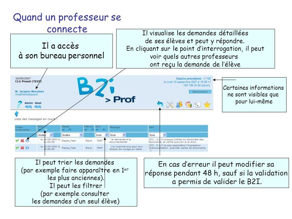 Quand un professeur se connecte Il visualise les demandes détaillées de ses élèves et peut y répondre.
