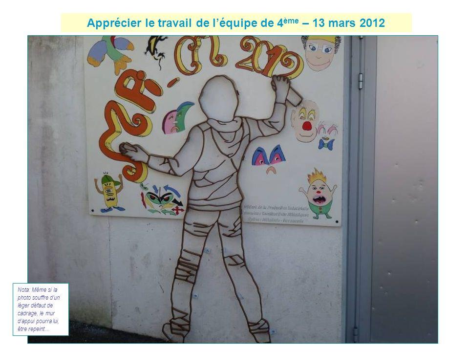 Apprécier le travail de léquipe de 4 ème – 13 mars 2012 Nota: Même si la photo souffre dun léger défaut de cadrage, le mur dappui pourra lui, être rep