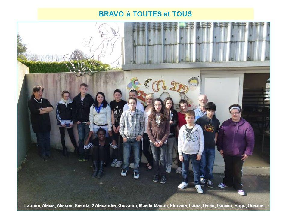 BRAVO à TOUTES et TOUS Laurine, Alexis, Alisson, Brenda, 2 Alexandre, Giovanni, Maëlle-Manon, Floriane, Laura, Dylan, Damien, Hugo, Océane.