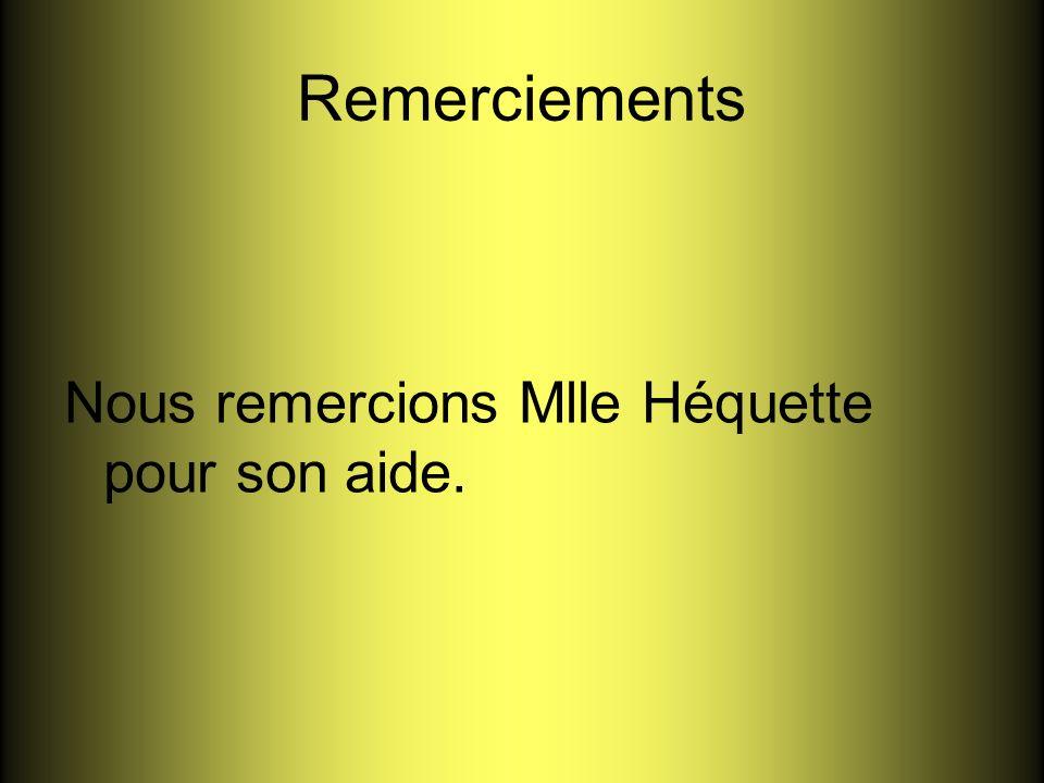 Remerciements Nous remercions Mlle Héquette pour son aide.