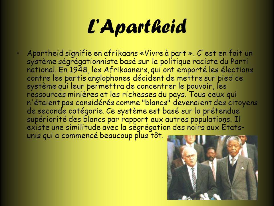 LApartheid Apartheid signifie en afrikaans «Vivre à part ». C'est en fait un système ségrégationniste basé sur la politique raciste du Parti national.