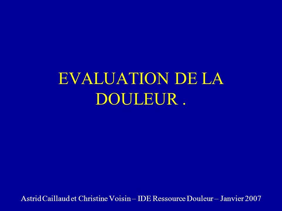 EVALUATION DE LA DOULEUR. Astrid Caillaud et Christine Voisin – IDE Ressource Douleur – Janvier 2007