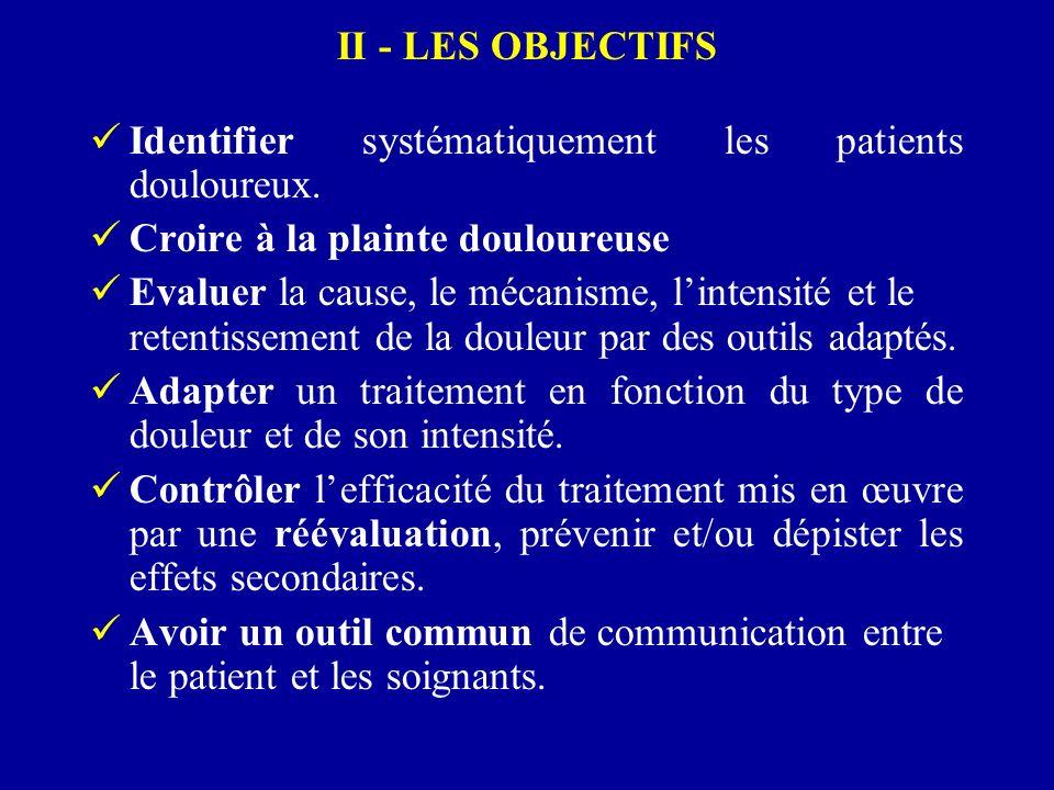 II - LES OBJECTIFS Identifier systématiquement les patients douloureux. Croire à la plainte douloureuse Evaluer la cause, le mécanisme, lintensité et