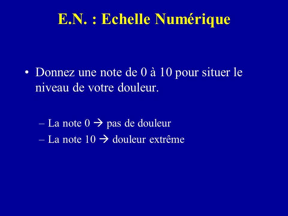 E.N. : Echelle Numérique Donnez une note de 0 à 10 pour situer le niveau de votre douleur. –La note 0 pas de douleur –La note 10 douleur extrême