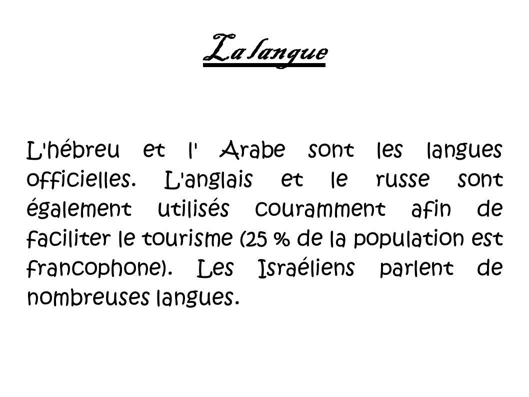 La langue L'hébreu et l' Arabe sont les langues officielles. L'anglais et le russe sont également utilisés couramment afin de faciliter le tourisme (2