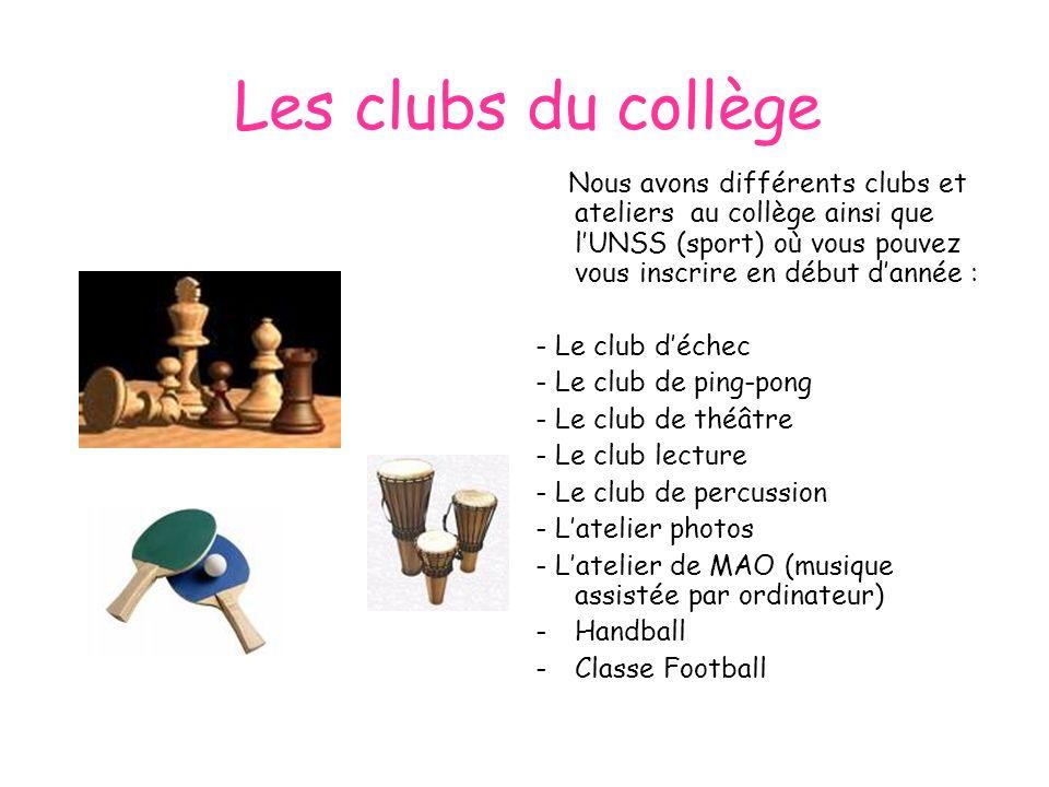Les clubs du collège Nous avons différents clubs et ateliers au collège ainsi que lUNSS (sport) où vous pouvez vous inscrire en début dannée : - Le cl