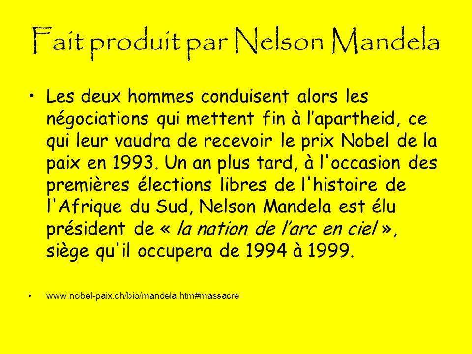 Fait produit par Nelson Mandela Les deux hommes conduisent alors les négociations qui mettent fin à lapartheid, ce qui leur vaudra de recevoir le prix